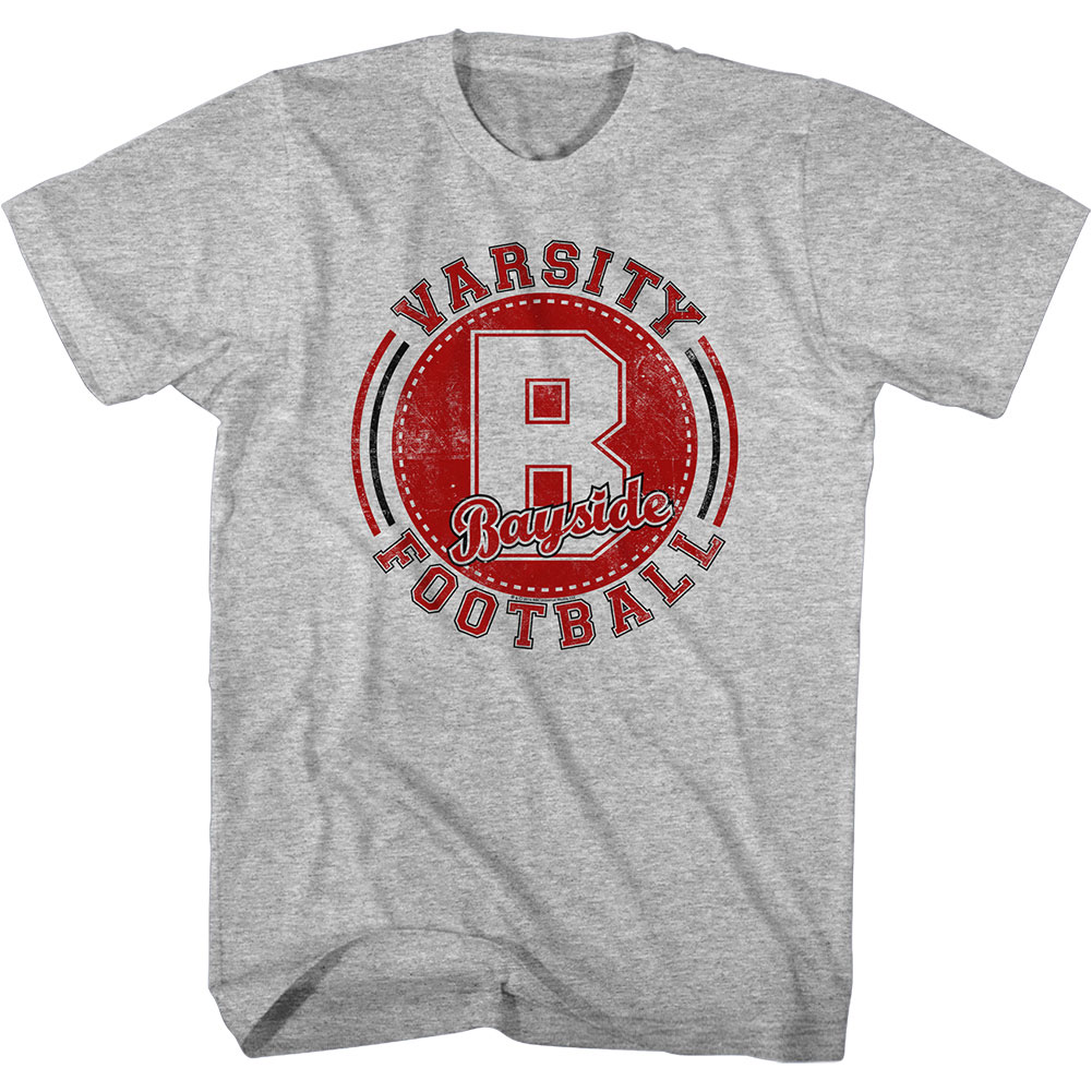 Saved By The Bell Men's  Varsity Football Slim Fit T-shirt Gray Heather