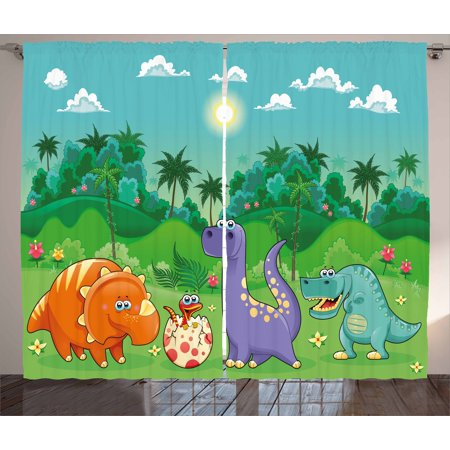 Nursery Curtains 2 Panels Set, Funny Dinosaurs and Tropical Rainforest Cartoon Jungle Green Landscape Kids Theme, Window Drapes for Living Room Bedroom, 108W X 84L Inches, Multicolor, by Ambesonne](Theme For Kids)