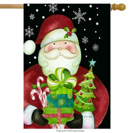here comes santa christmas house flag presents holiday 28
