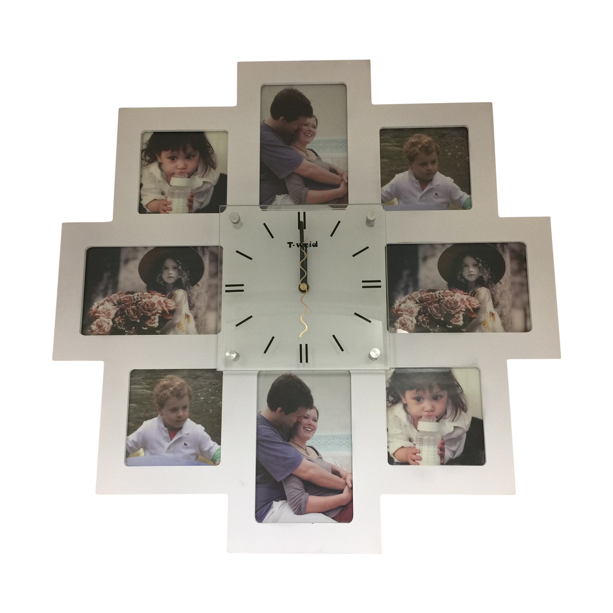 Clock with 8 Photo Frames