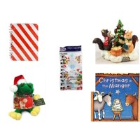 """Christmas Fun Gift Bundle [5 Piece] - Michaels Red & White Stripe Journal - Forest Friends Gingerbread Tree Resin Figurine - Party Expressions Plastic Table cover 54"""" x 108"""" Rectangle -  Santa Frog"""