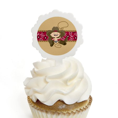Little Cowboy - Western Cupcake Picks with Stickers - Baby Shower or Birthday Party Cupcake Toppers - 12 Count - Cowboy Cupcakes
