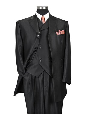 Herring Bone Stripe High Fashion Suit with Vest & Pants