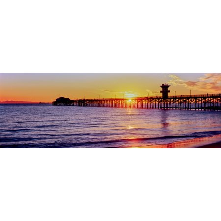 Seal Beach Pier at sunset Seal Beach Orange County California USA Canvas Art - Panoramic Images (13 x 36) ()