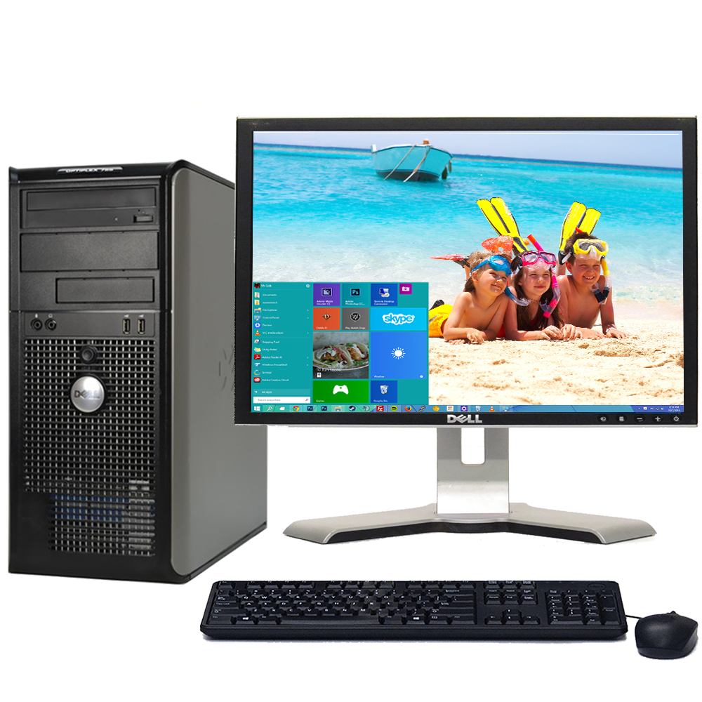 "Dell Optiplex 780 Windows 10 Home Premium Desktop PC Tower Core 2 Duo 3.0GHz Processor 8GB RAM 1TB Hard Drive DVD-RW Wifi with a 17"" LCD-Refurbished Computer"