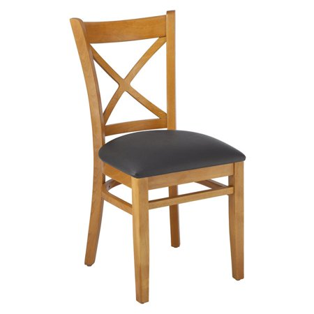 Cross Back Side Chair in Cherry with Black Upholstered Seat (Set of 2)