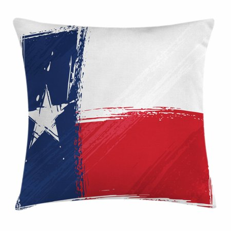 Texas Accent (Texas Star Throw Pillow Cushion Cover, Grunge Flag with Watercolor Brush Strokes Independent Country, Decorative Square Accent Pillow Case, 16 X 16 Inches, Vermilion White Dark Blue, by Ambesonne)