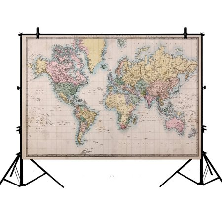 PHFZK 7x5ft Ancient Global Map Backdrops, Educational World Map Geologist Gifts Photography Backdrops Polyester Photo Background Studio Props - Mlp Background