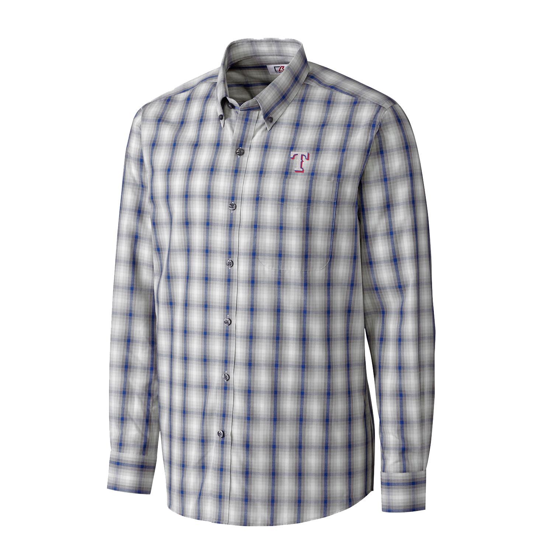 Texas Rangers Cutter & Buck North Point Plaid Woven Long Sleeve Button-Down Shirt - Royal
