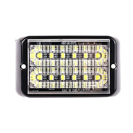 Abrams SAE Class-1 Bold (Amber/White) 36W - 12 LED Snow Plow Truck Vehicle LED Grille Light Head Surface Mount Strobe Warning Light