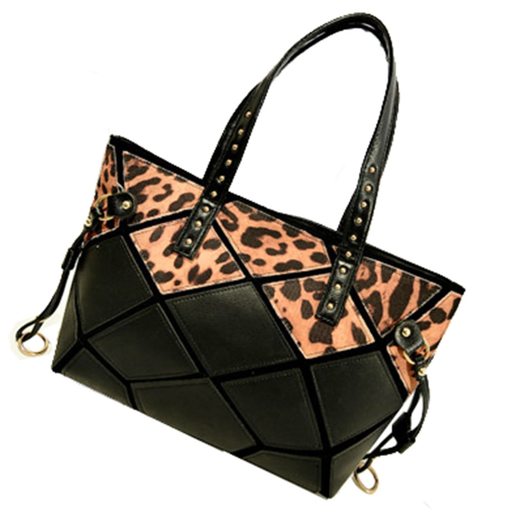 JAVOedge Geometric Leopard and Black Large Synthetic Leather Shoulder Tote Bag  with Inner Pockets, Zipper Pouches