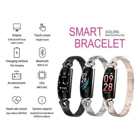 Gold Silver Wrist Watch (Women Fashion Waterproof Diamond Bluetooth Smart Watch Lady Women Bracelet Wristband for iOS Android Great Gifts-Black)
