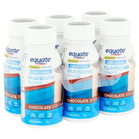 Equate Original Nutritional Shakes, Chocolate, 8 fl oz, 6 Count