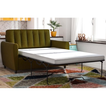 Novogratz Brittany Loveseat Sleeper Sofa with Memory Foam Twin Mattress - Green Linen