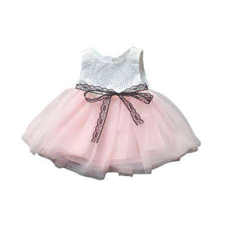 US Baby Girls Princess Flower Tulle Tutu Dress Wedding Birthday Party -