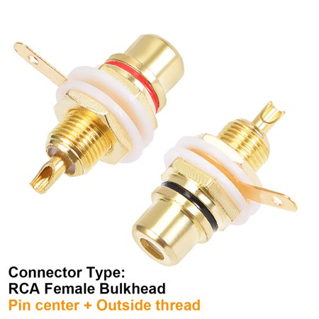 RCA Female Socket Gold Plated Audio Video Connectors Adapter Soldering 2pcs - image 3 of 5