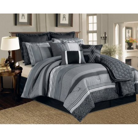 legacy decor 12 pc black grey and white striped pattern comforter set with quilt included. Black Bedroom Furniture Sets. Home Design Ideas