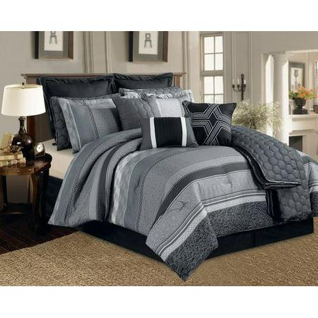 Legacy Decor 12 Pc. Black, Grey and White Striped Pattern ...