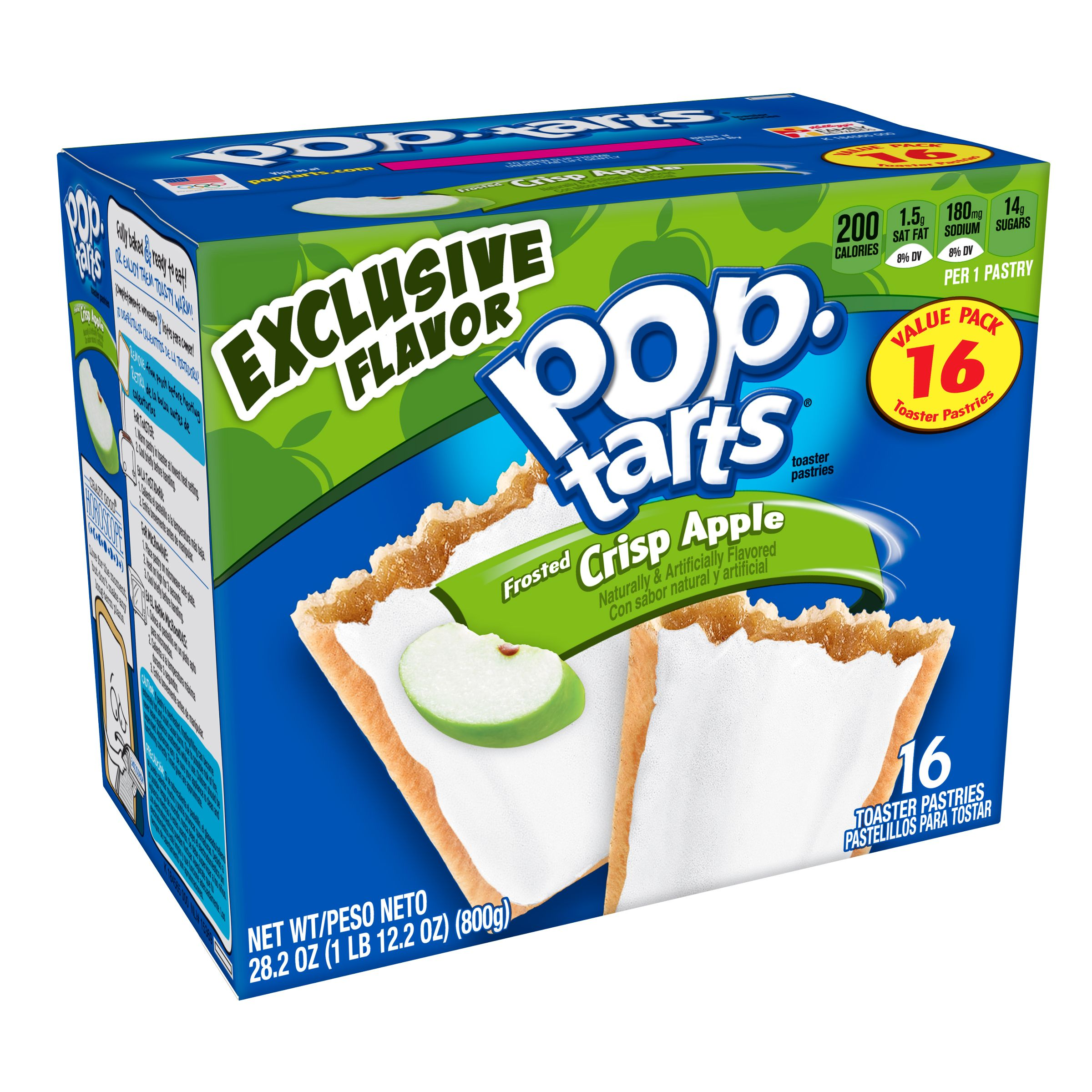 Kellogg's Pop-Tarts Frosted Crisp Apple Breakfast Toaster Pastries Value Pack 28.2oz16 Ct