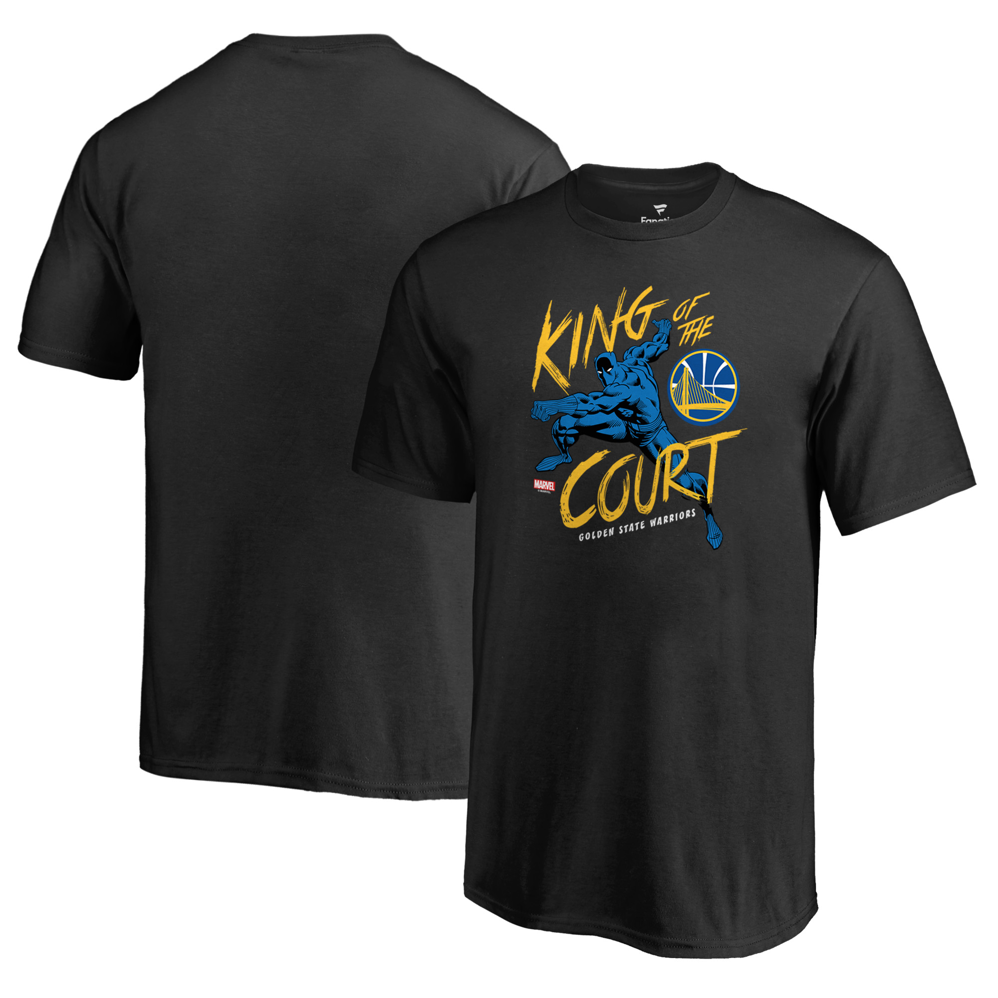Golden State Warriors Fanatics Branded Youth Marvel Black Panther King of the Court T-Shirt - Black