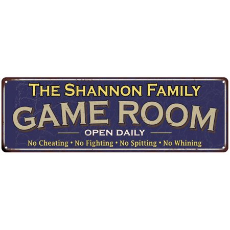 Shannon Metal (The Shannon Family Personalized Blue Game Room Metal 6x18 Sign 206180037771 )