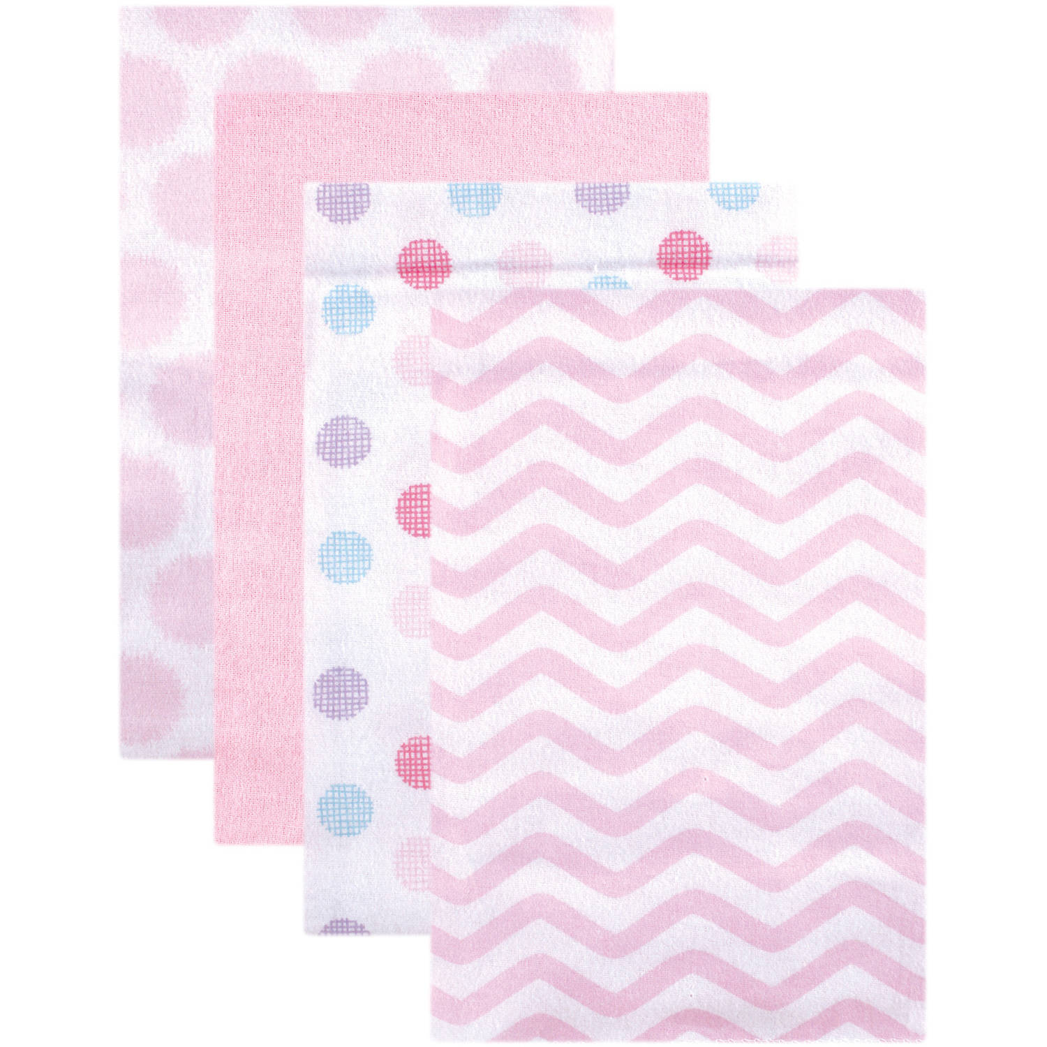 Luvable Friends Receiving Blankets Flannel, 4pk, Pink Dots