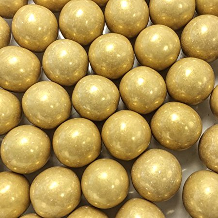 """Large 1"""" Gold Shimmer Gumballs - 2 Pound Bags - About 120 Gumballs Per Bag - - Includes """"How to Build a Candy Buffet"""" Guide"""