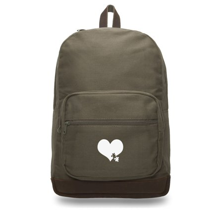 Autism Awareness Heart Puzzle Teardrop Backpack with Leather Bottom - Autism Backpack
