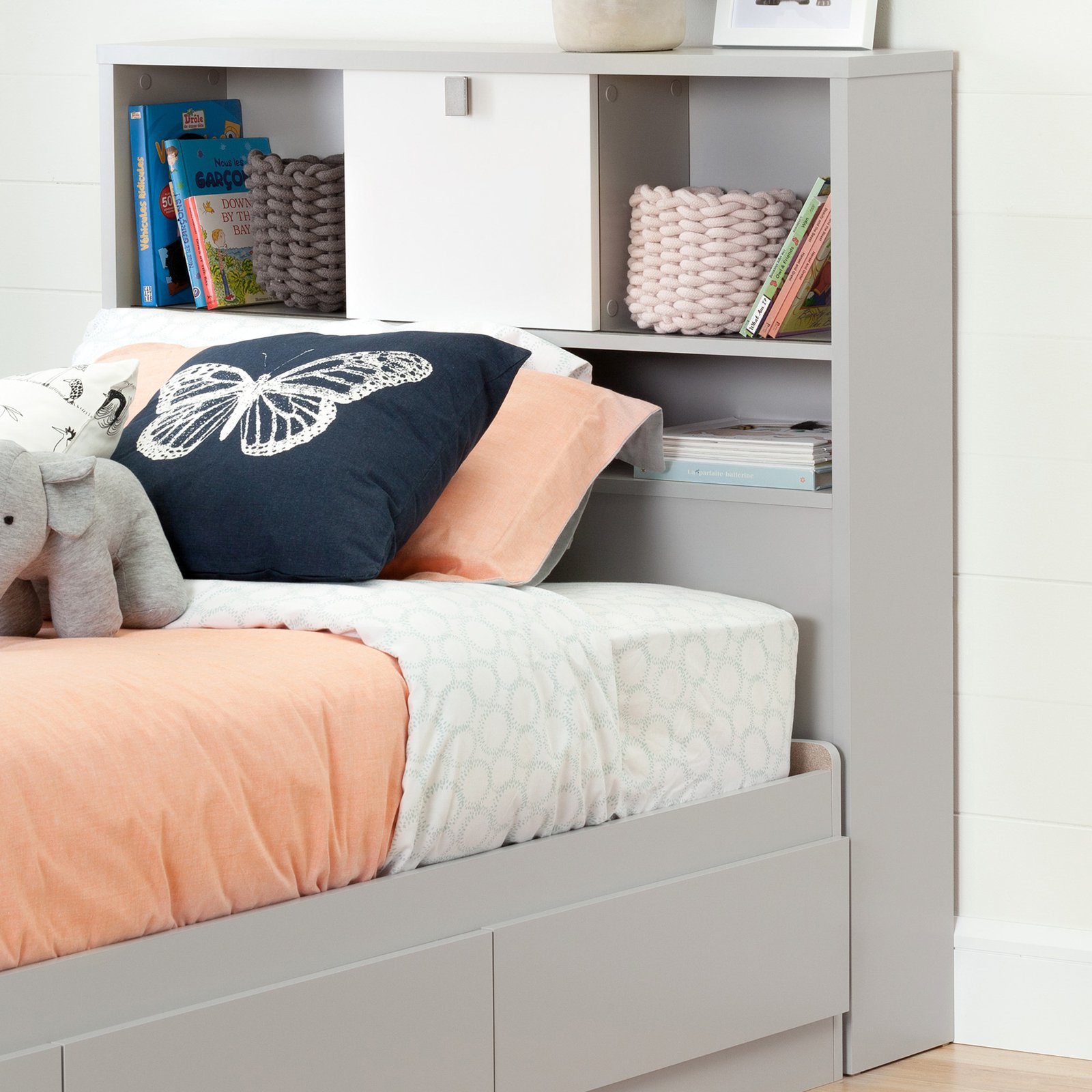 South Shore Cookie Twin Bookcase Headboard, Soft Gray and Pure White