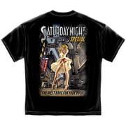 American Beauties Saturday Night Special Sexy Pin-up Girl in Garters Gun T-Shirt