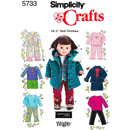 Simplicity Patterns Doll Clothes For 18 Doll, One Size