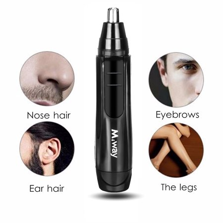 M.way Wet Dry Hair Trimmer Electric Portable Personal Ear Nose Eyebrow Mustache Face Hair Removal Trimmer Shaver Clipper Cleaner Remover Tool for Men Women With Stainless Steel Blade ()