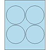 "4"" Round Pastel Blue Labels for Laser Printers, Inkjet Printers or Copier Machines. (GLC400PB)"