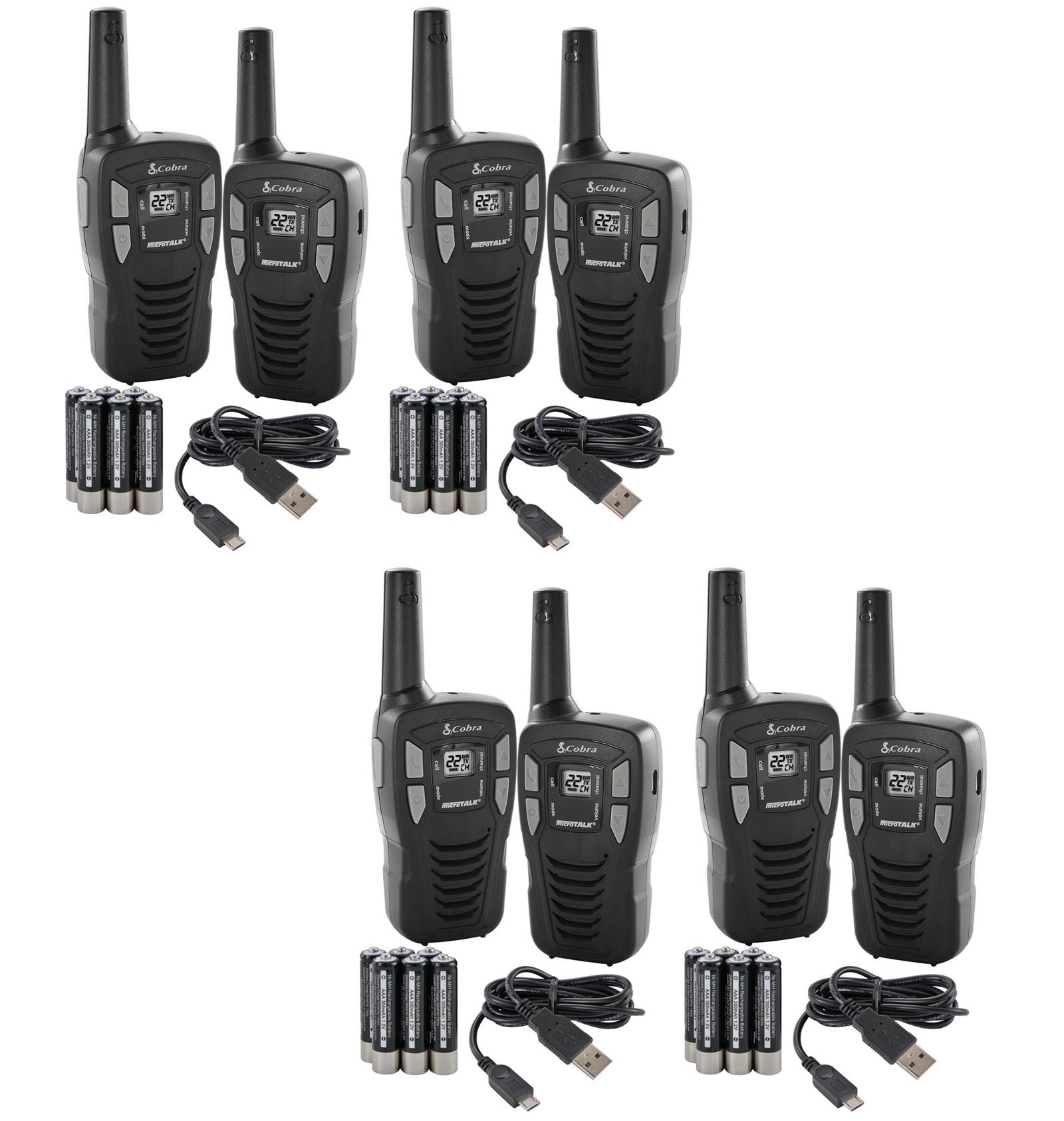 New! (8) COBRA CXT145 MicroTalk 16 Mile 22 Channel Walkie Talkie 2-Way Radios! by Cobra