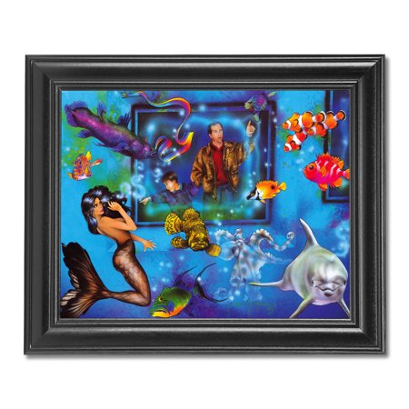 - Aquarium Mermaid Ocean Fish and Dolphin Fantasy Wall Picture Black Framed