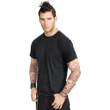 Skull And Snake Punk Rock Realistic-Look Tattoo Sleeves Adult Halloween Costume Accessory