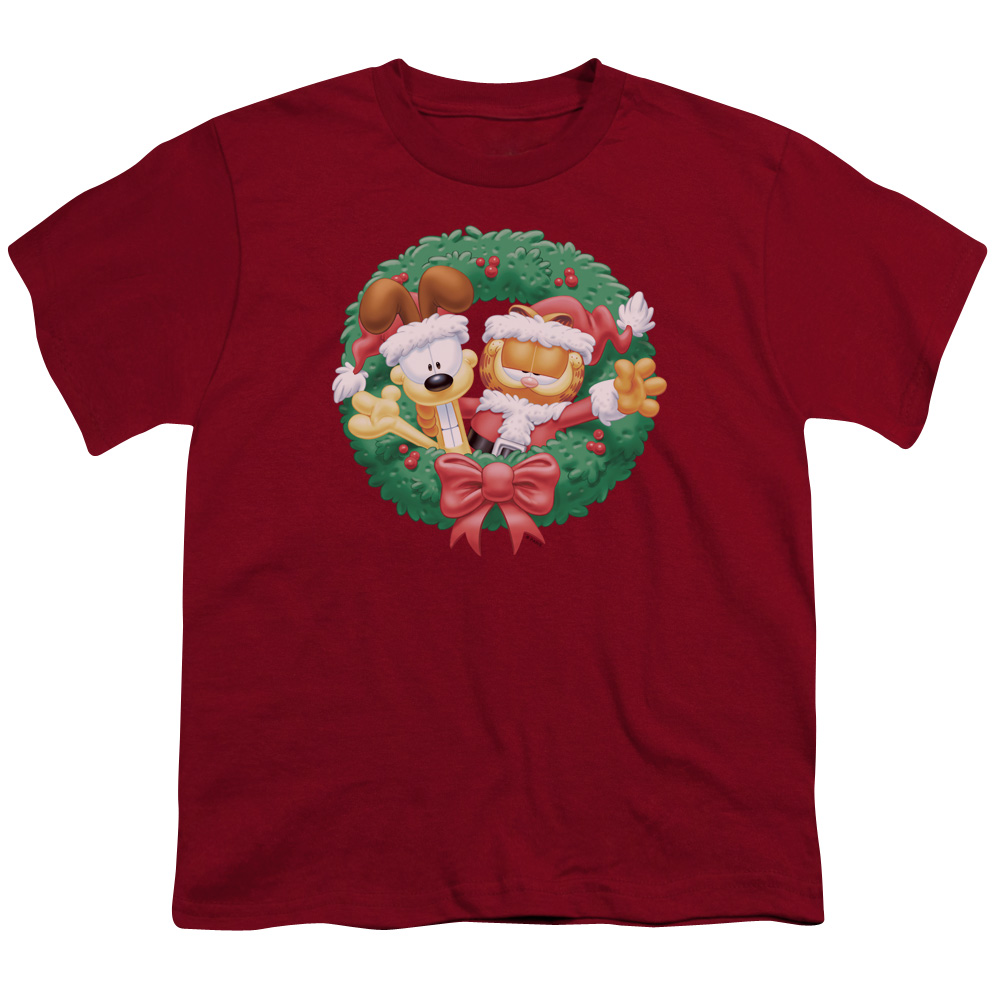 Garfield/Christmas Wreath S/S Youth 18/1 Cardinal   Gar305