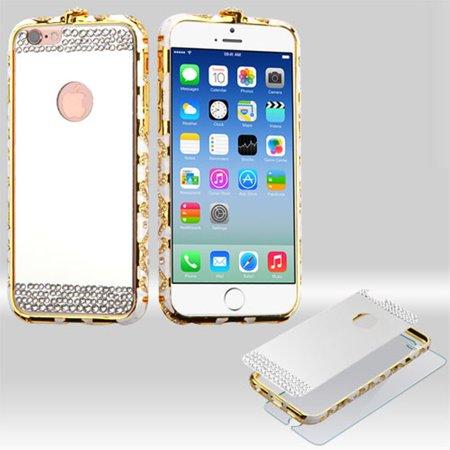 Surround Aluminum Bumper Shield (MyBat 3-in-1 Surround Shield Hybrid Case for iPhone 6s / 6 (Silver Acyrlic Hard Back Plate + Diamante Metal Bumper + Tempered Glass Screen Protector) )