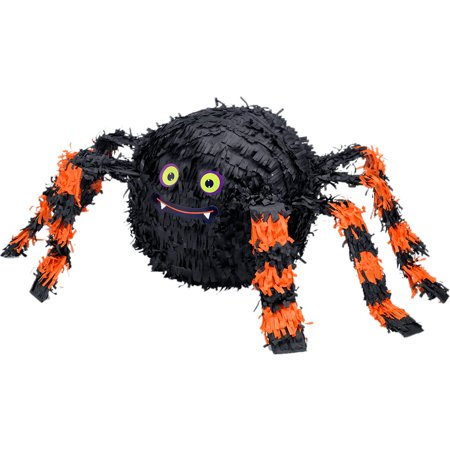 Orange and Black Spider Pinata, Holds up to 2 Pounds of Filler, 18 by 14 Inches - Diy Pinata Halloween