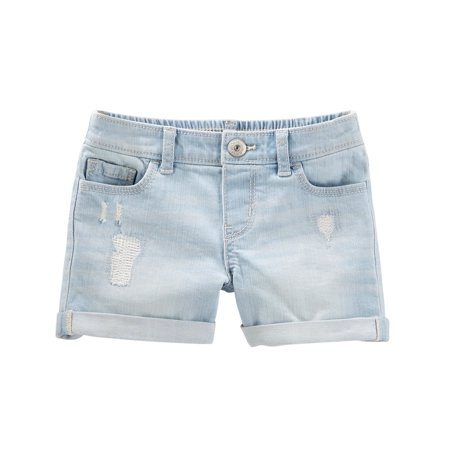 OshKosh B'gosh Little Girls' Stretch Denim Shorts - Blue Ice Wash, 7 Kids