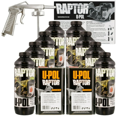 U-POL Raptor Black Truck Bed Liner Kit w/ Spray Gun, 8L, 2 Box -