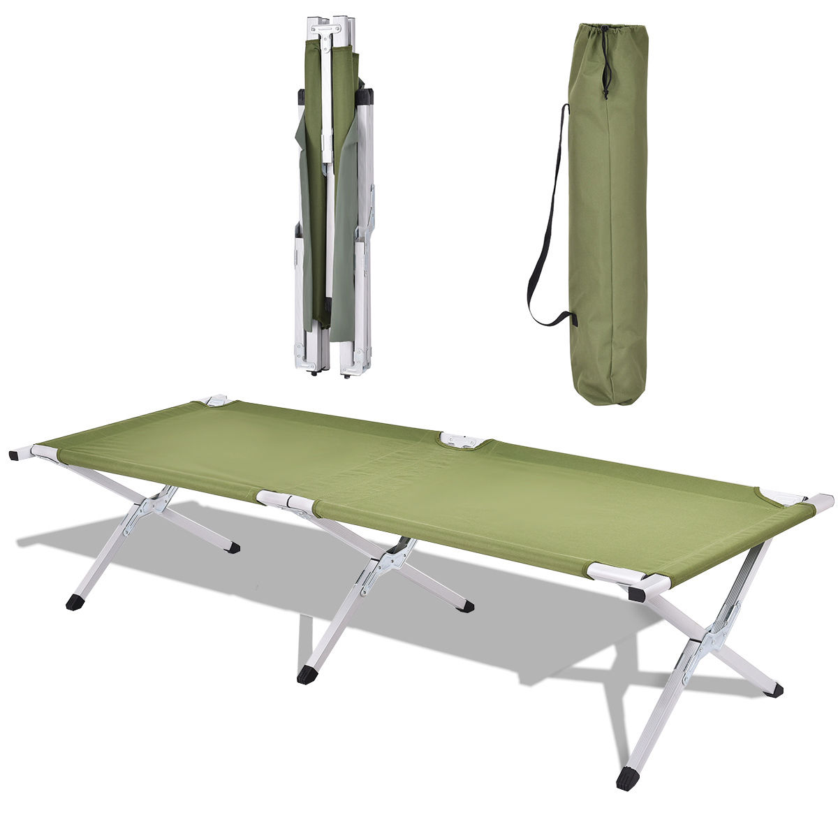 Costway Green Foldable Camping Bed Portable Military Cot Hiking Travel w  carrying Bag by Costway