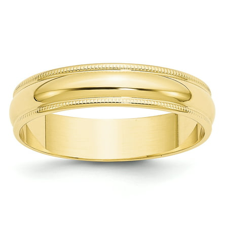 10k Yellow Gold 5mm Lightweight Milgrain Half Round Band Size 7.5