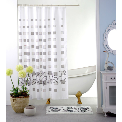 Bristol Grey Square Geometric Printed Design Fabric Shower Curtain, 70x70