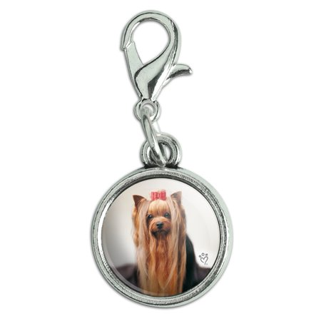 Yorkie Yorkshire Terrier Dog Red Bow Antiqued Bracelet Pendant Zipper Pull Charm with Lobster Clasp Pewter Dog Antique Charm