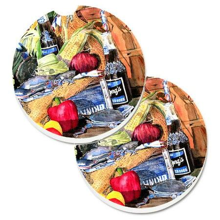 Carolines Treasures 8538CARC Barqs & Crabs Set of 2 Cup Holder Car Coaster - image 1 of 1