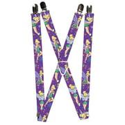 Kid's Elastic Disney Tinker Bell Print Suspenders