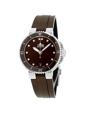 Oris Aquis Brown Dial Canvas Strap Ladies Watch 73376524192TSBRN