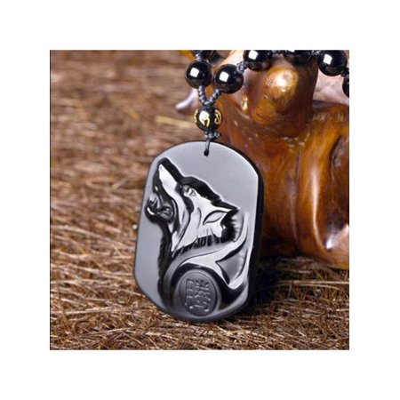 Natural Handwork Carved Black Obsidian Wolf Head Pendant With Beads Necklace Jewelry Pendent