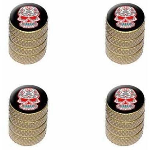 Mexican Day of the Dead Skull Tire Rim Wheel Aluminum Valve Stem Caps, Multiple Colors